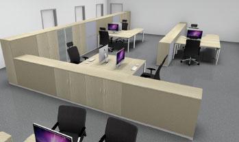 Planungsansicht Arbeitsplätze Stauraummöbel