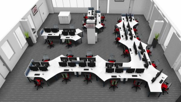Planungsansicht Arbeitsplätze Bürodrehstuhl