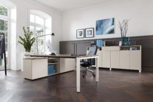Büro Arbeitsplatz Schreibtischsystem Bürodrehstuhl