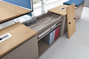Kabelverlegung Schreibtischsystem Container Orgacontainer