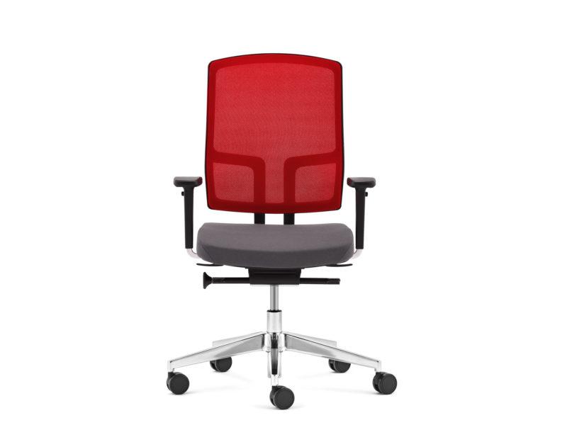 Bürodrehstuhl NetGo schwarz rot frontal