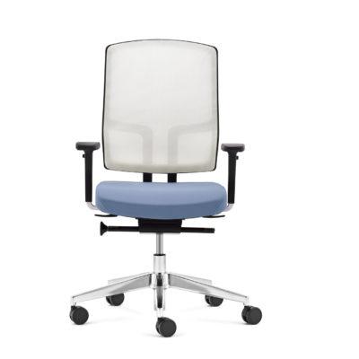 Bürodrehstuhl NetGo weiß blau frontal