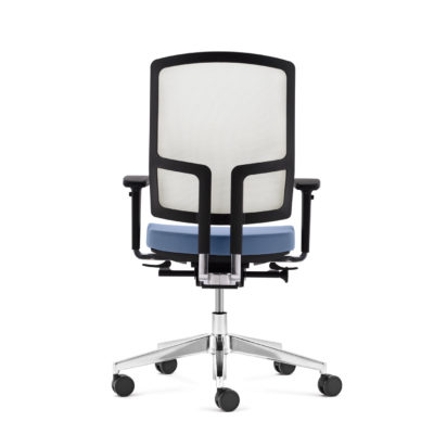 Bürodrehstuhl NetGo Rückansicht weiß blau