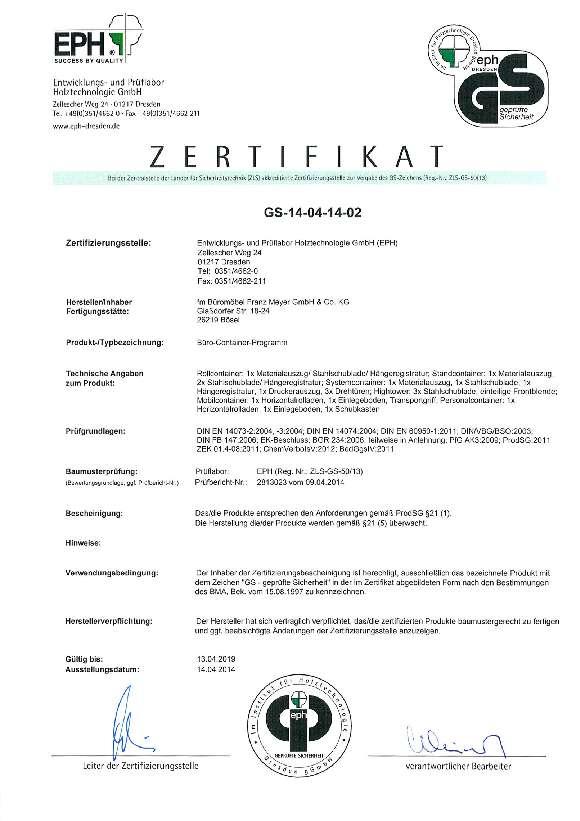 GS Zertifikat Container