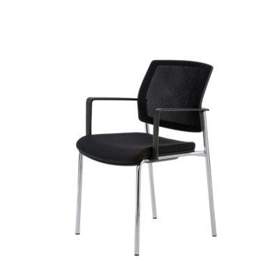 Besucherstuhl Konferenzstuhl mit Armlehnen schwarz