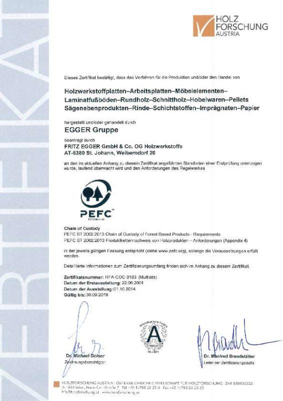 PEFC Zertifikat Egger