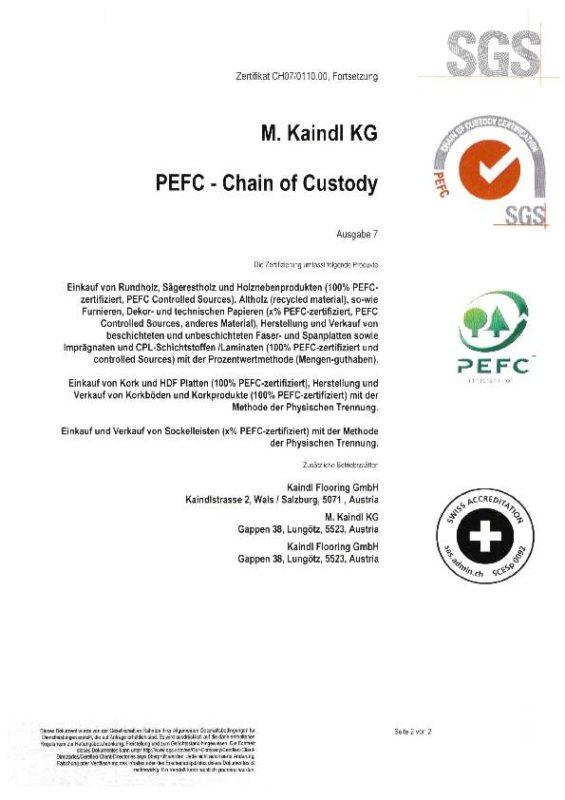PEFC Zertifikat Kaindl
