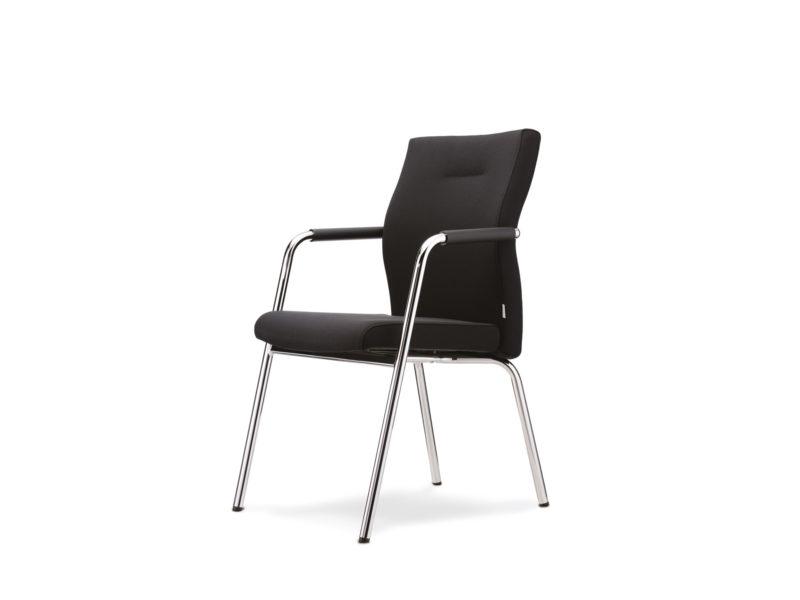 Besucherstuhl Konferenzstuhl Startup2 mit Armlehne schwarz schräg