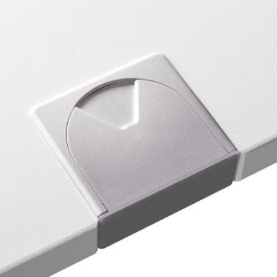 Schreibtischsysteme Zubehör Kabeldurchlassbuchsen Eckig Silber