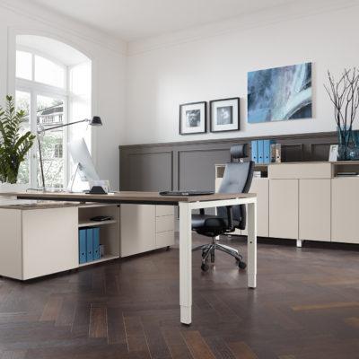 Milieuansicht Schreibtischsystem Bürodrehstuhl