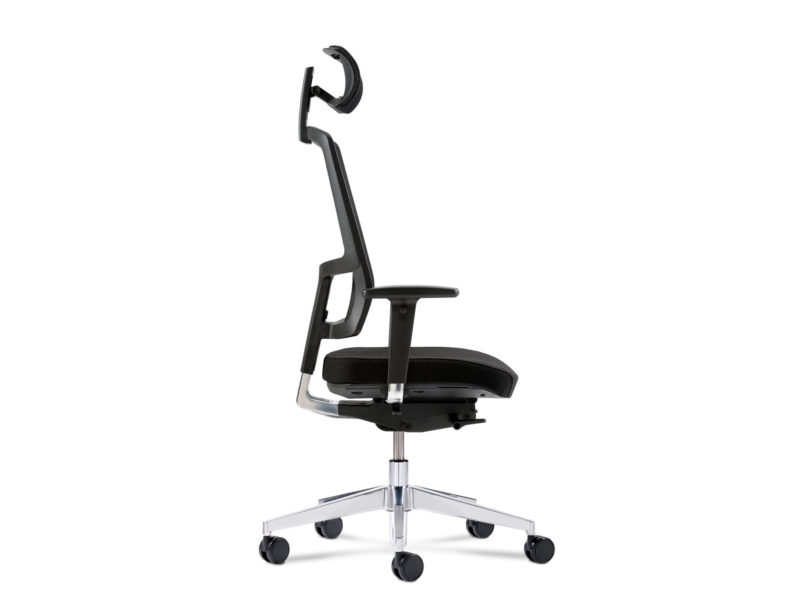 Bürodrehstuhl NetGo seitlich mit Kopfstütze