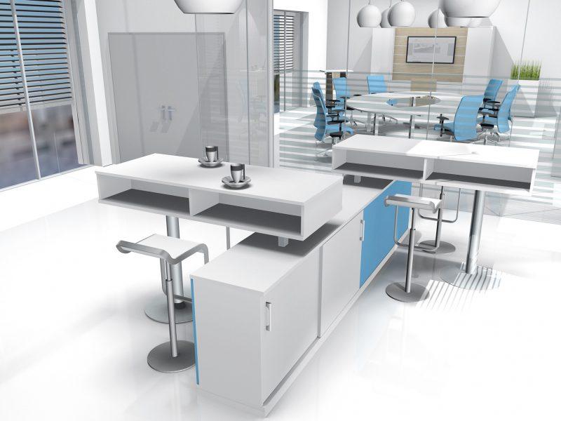Planungsansicht Arbeitsplatz Stauraummöbel